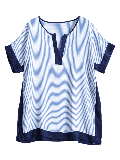 women's Tunic Striped Cover Up - BLUE ONE SIZE Mobile