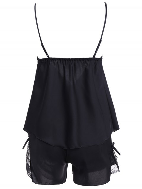 best Lace Insert Tank Top and Slik Shorts - BLACK M Mobile