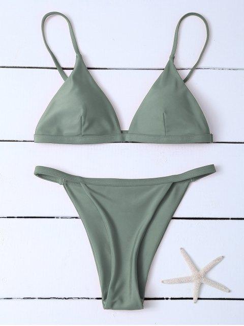 outfits Low Waisted Spaghetti Strap Bikini Swimwear - GREYISH GREEN S Mobile