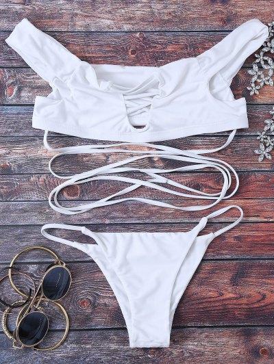 Strappy Off The Shoulder Bikini Set - White