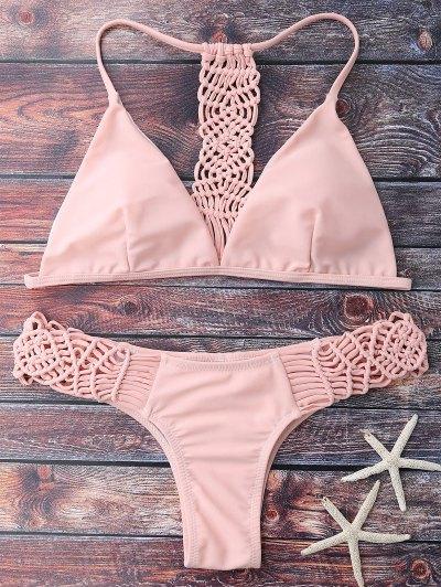 El Hacer Punto De Tiras Del Bikini Set - Rosa