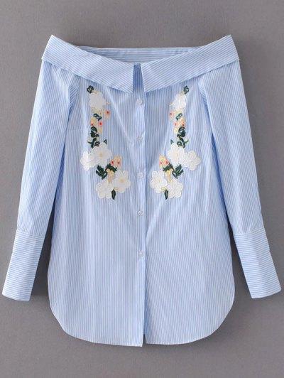 Off Shoulder Floral Stripe Shirt Dress - Light Blue