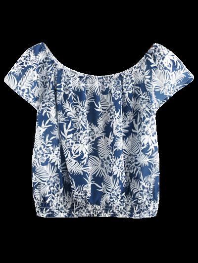 Hombro Impreso Camisa Corta - Teal