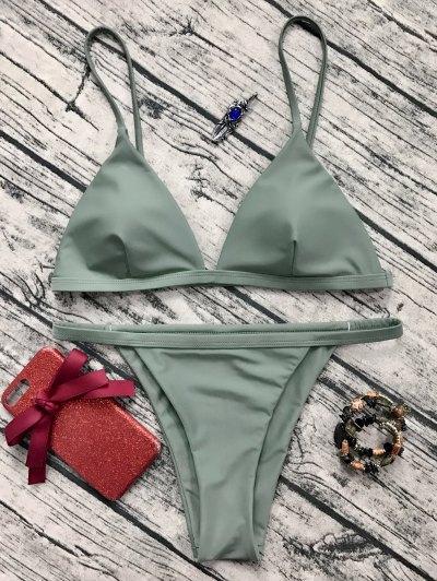 Low Waisted Spaghetti Strap Bikini Set - Greyish Green