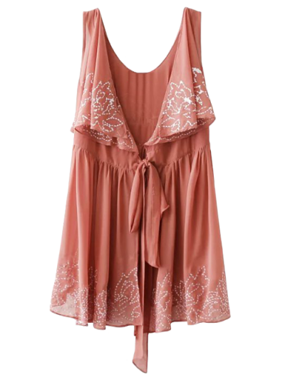 Embroidered Sleeveless Robe Dress - Laterite