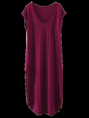 Oversized Shift Maxi Dress - Purplish Red