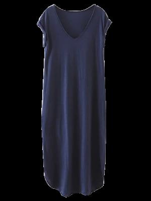 Oversized Shift Maxi Dress - Purplish Blue