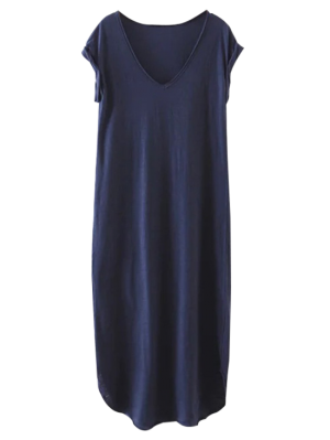 Oversized Shift Maxi Dress - Purplish Blue