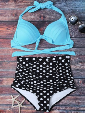 Polka Dot Push Up Bikini Set - Lake Blue