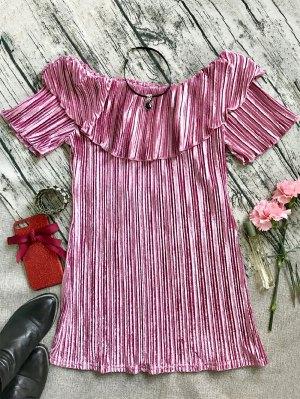 Ruffle Pleated Velvet Off Shoulder Dress - Pink