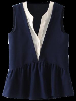 Sleeveless Layered Plunge Skirted Blouse - Purplish Blue