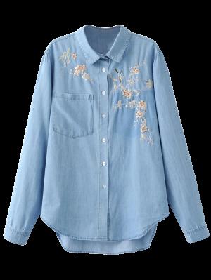 Embroidered High-Low Denim Shirt - Light Blue