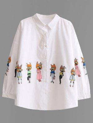 Button Up Cartoon Print Shirt - White