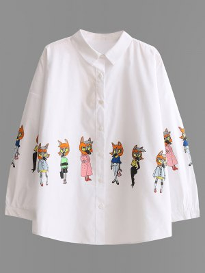 Button Up Cartoon Print Shirt - White