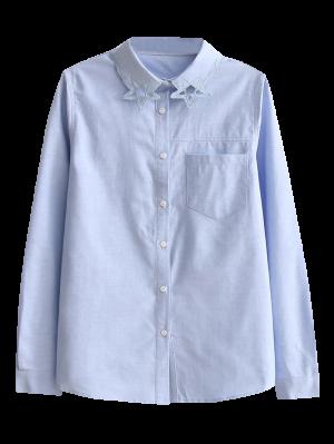 Pentagram Embroidered Pocket Shirt - Light Blue