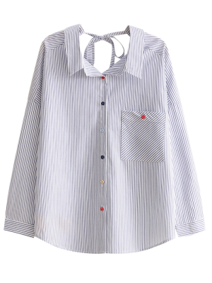 Tie Back Pocket Striped Shirt - Stripe