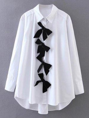 High Low Bowknot Boyfriend Shirt - White