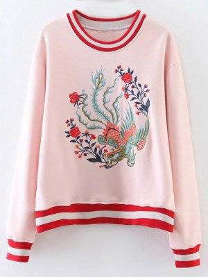 Phoenix Embroidered Striped Sweatshirt - Shallow Pink