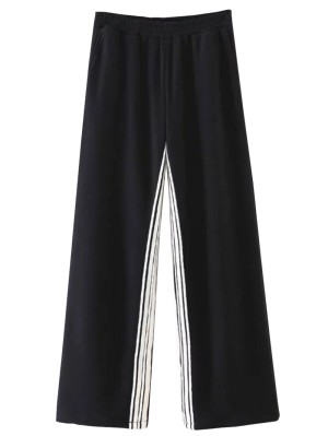 Striped Elastic Waist Wide Leg Pants - Black