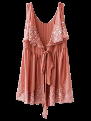 Embroidered Sleeveless Robe Dress - Laterite