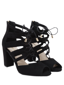 Lace Up Peep Toe Sandals - Black