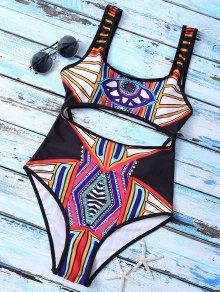 Geometric Thong One-Piece Swimwear