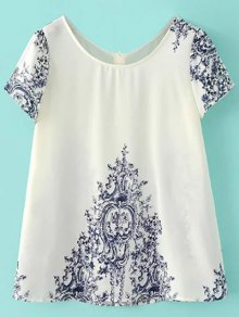 Blue and White Porcelain Back Button Top