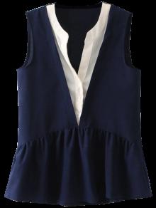 Sleeveless Layered Plunge Skirted Blouse - Purplish Blue L