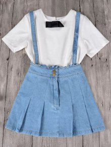 Frilled Suspender Denim Skirt - Light Blue
