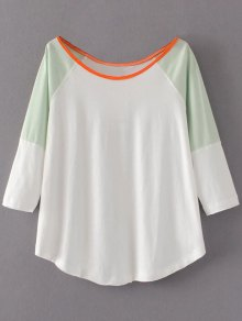 Color Block Cotton Blend T-Shirt - White S