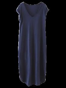 Robe Bleu Casual Maxi à Col V Pour Plage - Bleu Violet L