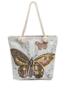 Butterfly Painted Canvas Shoulder Bag