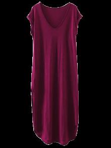 Oversized Shift Maxi Dress - Purplish Red L