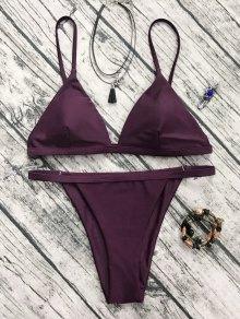 Low Waisted Spaghetti Strap Bikini Swimwear - Wine Red