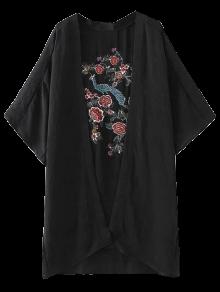 Peacock Flowers Embroidery Kimono