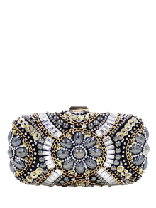 Chains Beaded Satin Evening Bag