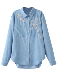Embroidered High-Low Denim Shirt