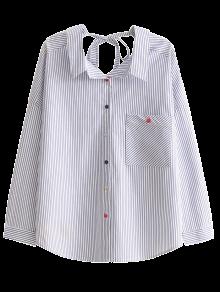 Tie Back Pocket Striped Shirt