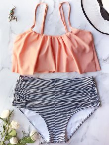 Flounced High Waisted Bikini Set - Orangepink Xl