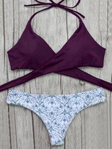 Wrap Bikini Top And Baroque Bottoms - Burgundy