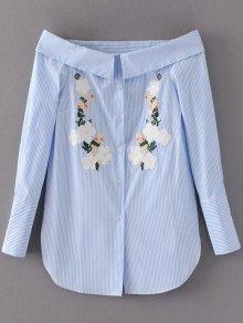 Robe-chemisier à Rayures Et Broderies Florales Avec Encolure Dégagée - Bleu Clair