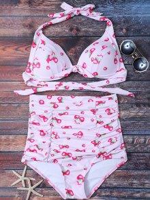 Strawberry High Waisted Bikini Set