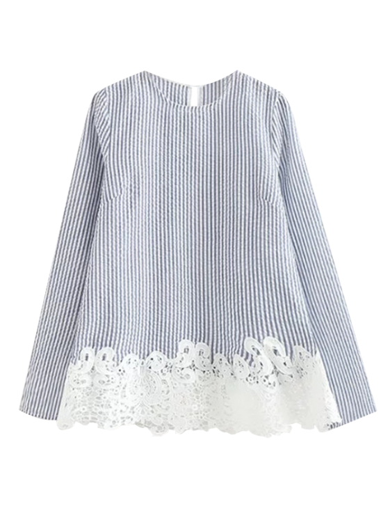 Striped Lace Insert T-Shirt - BLUE L Mobile