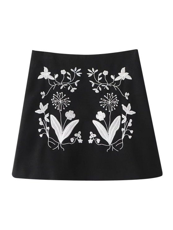 sale Ethnic Floral Embroidered A-Line Skirt - BLACK S