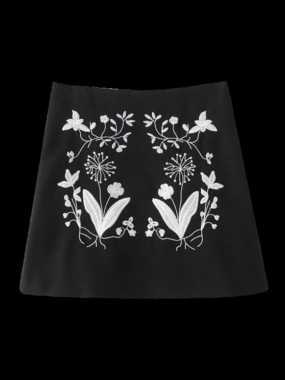 Bordado étnico floral una línea de Falda - Negro S