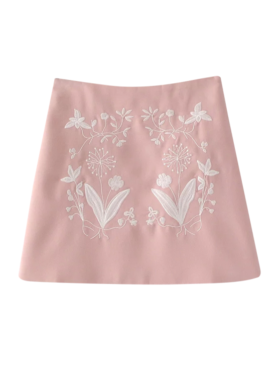ladies Ethnic Floral Embroidered A-Line Skirt - PINK S
