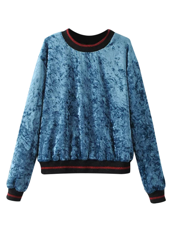 Loose Crushed Velvet Sweatshirt - BLUE L Mobile
