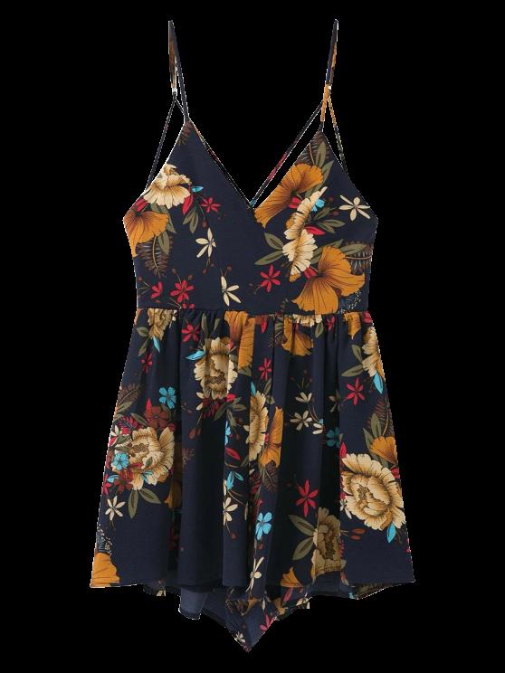 Combishort cami floral à bretelles en croisillons - Bleu Violet L