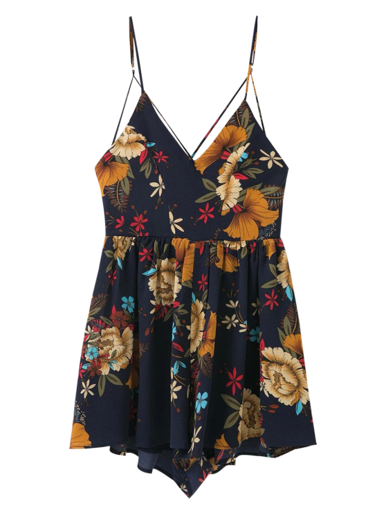 Cross Back Floral Cami Romper - PURPLISH BLUE M Mobile