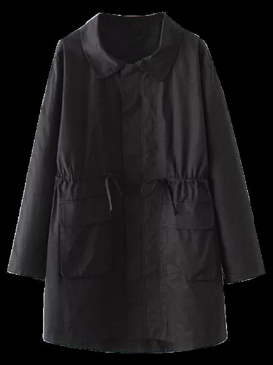 Manteau trench avec poches et à taille coulissée - Noir 2XL